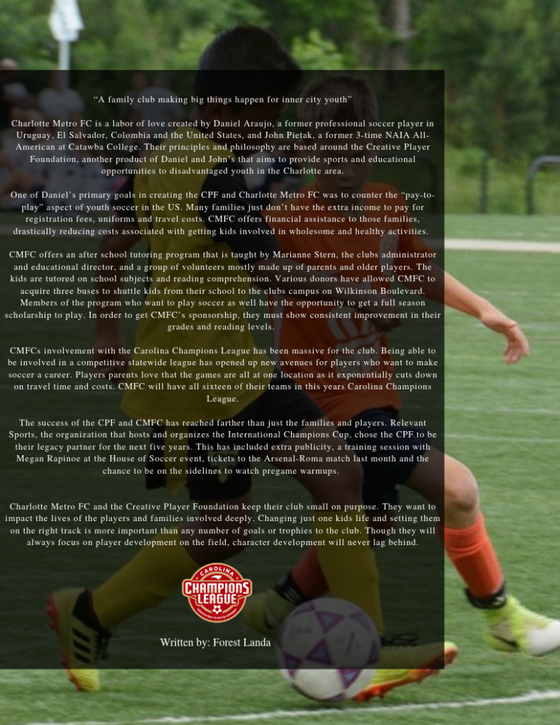 Article describing Charlotte Metro FC and their community focus to youth soccer