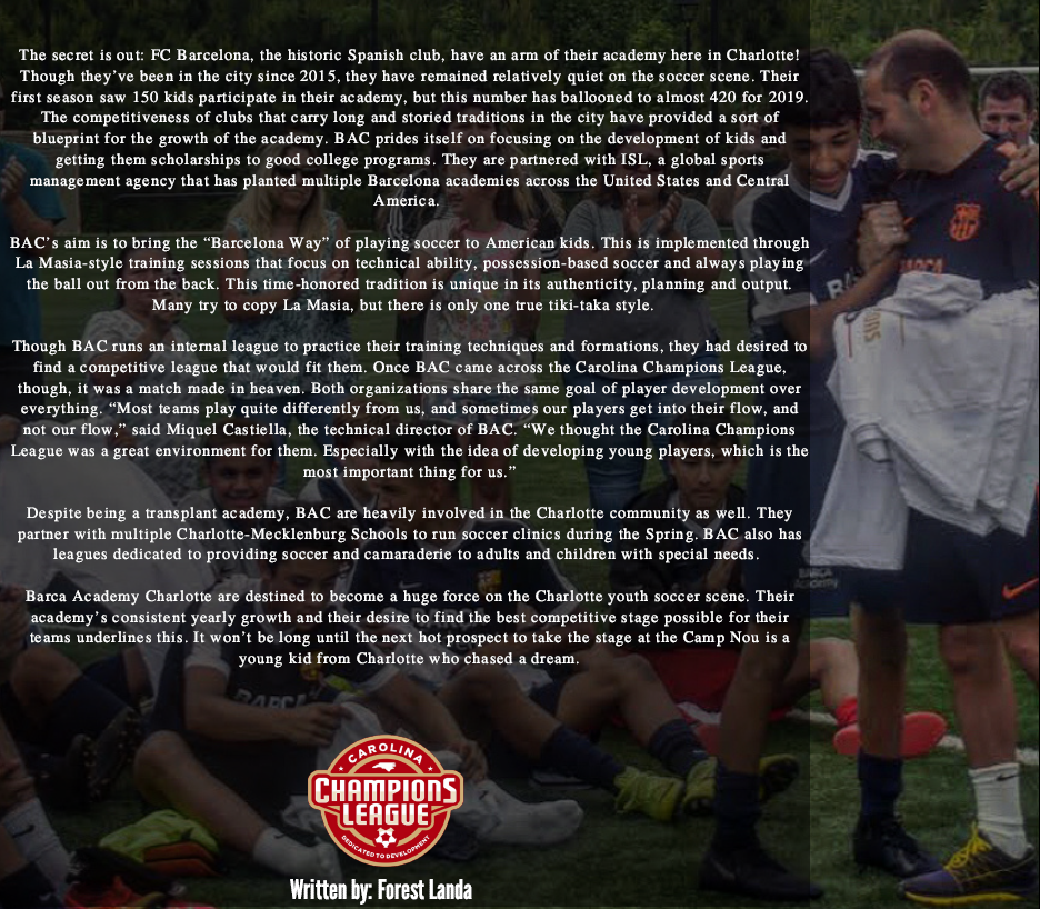 The story of FC Barcelona Academy Charlotte, including information about training methods and their history in the Charlotte area